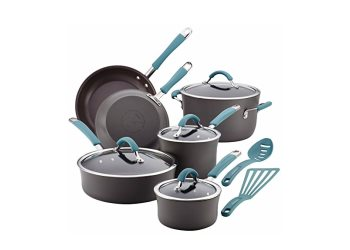Cucina Hard Anodized 12-Piece Cookware Set - Agave Blue