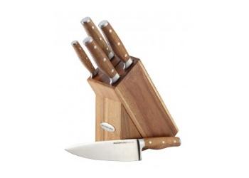 Cucina 6-Piece Knife Block Set with Acacia Handles