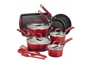 14-Piece Hard Enamel Cookware Set - Red