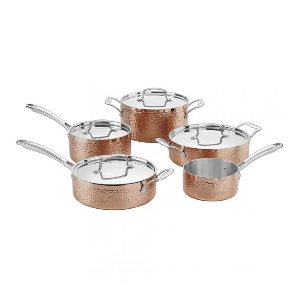 9-Piece Hammered Collection Cookware Set - Copper Classic