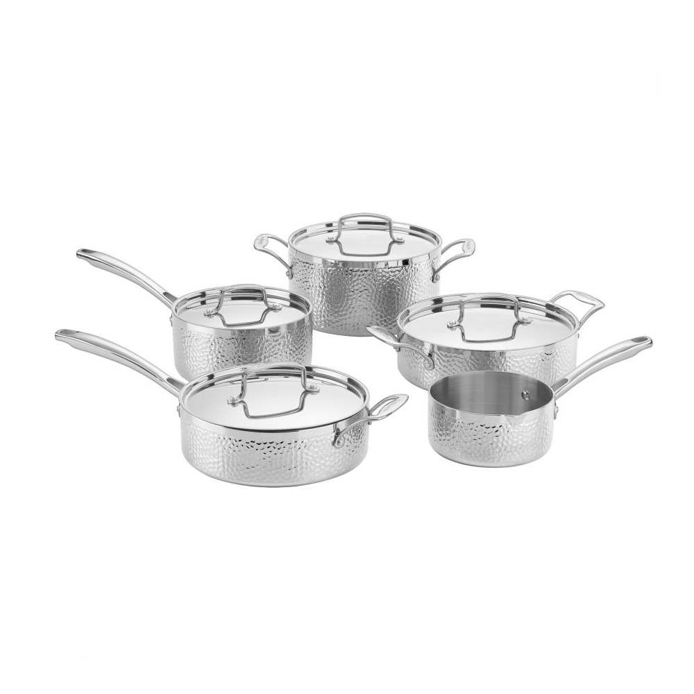 9-Piece Hammered Collection Set - Tri-Ply Stainless