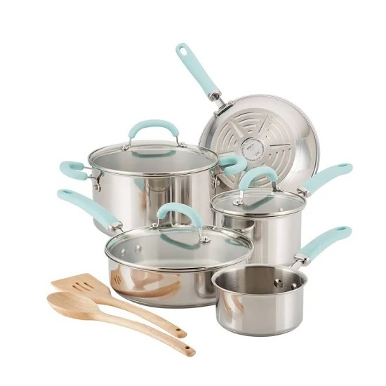 10-Piece Create Delicious Stainless Set - Blue Handles