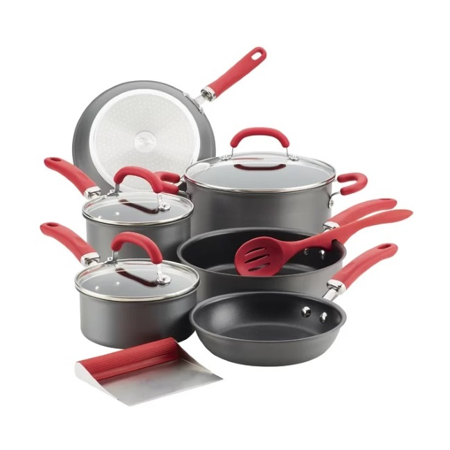 11-Piece Create Delicious Anodized Set - Red Handles