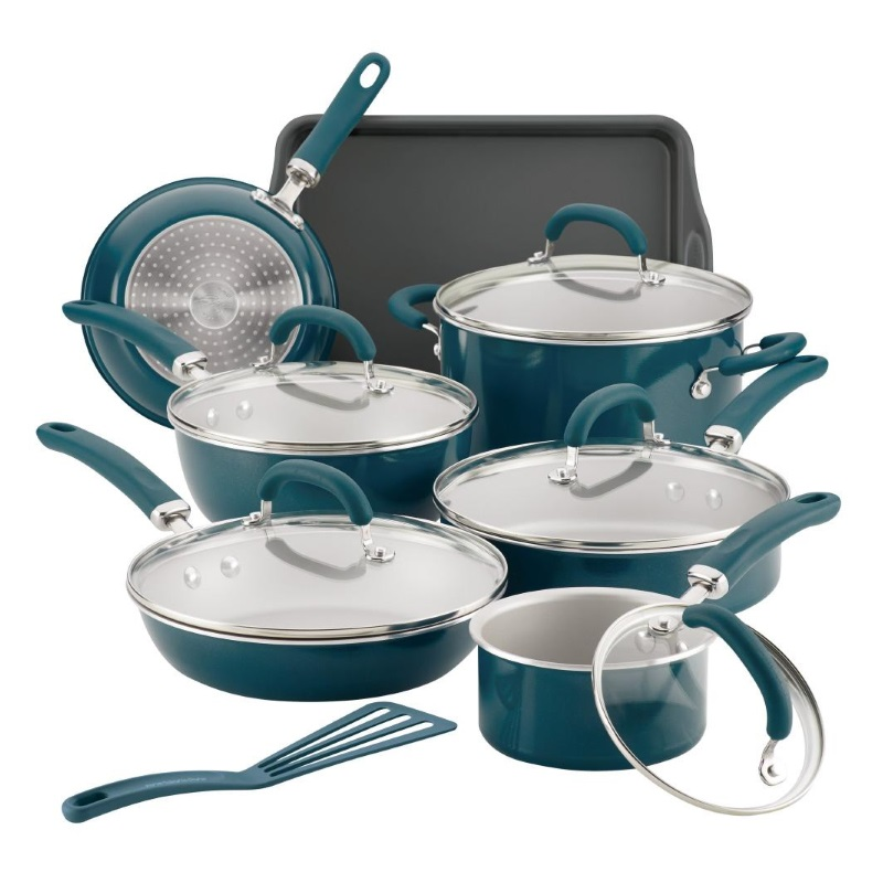 13-Piece Create Delicious Cookware Set -  Teal Shimmer