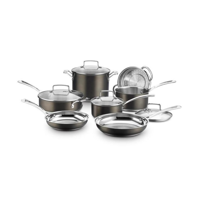 11-Piece Black Stainless Steel Cookware Set