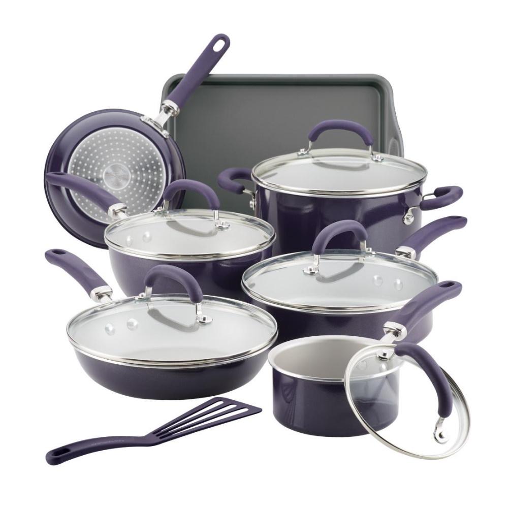 Create Delicious 13-Piece Enamel Cookware Set - Purple
