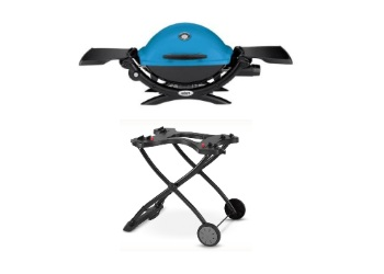 Q1200 Liquid Propane Gas Grill with Portable Cart - Blue