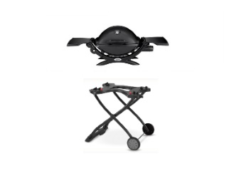 Q1200 Liquid Propane Gas Grill with Portable Cart - Black
