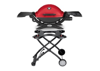 Q 1200 1-Burner Portable Tabletop Propane Gas Grill with Portable Cart Bundle