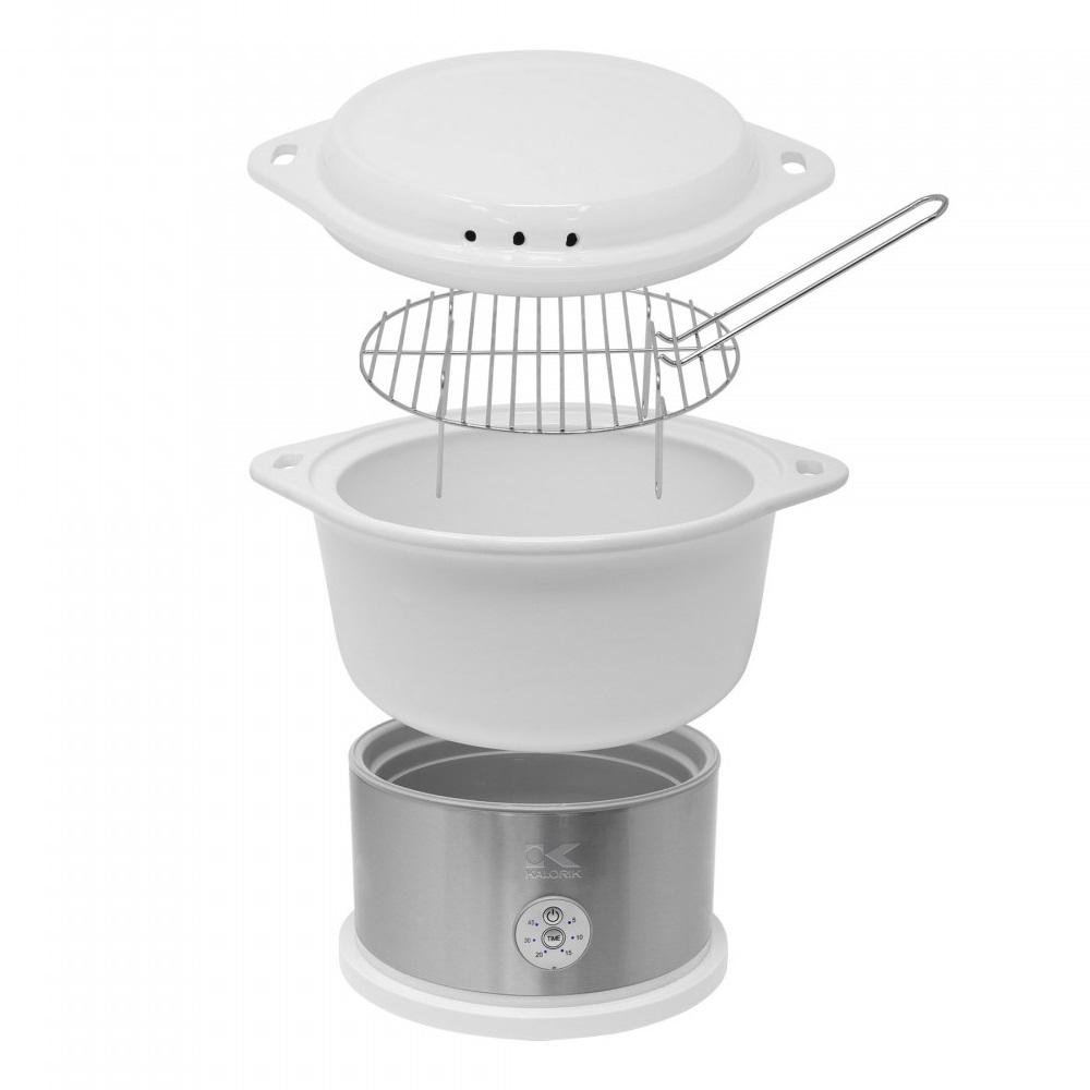 White Ceramic Steamer with Steaming Rack